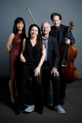From left, Mira Wang, Vanessa Perez, Bill Murray and Jan Vogler are bringing their New Worlds show to Australia.
