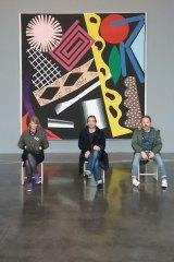 "Experimental Jetset (from left) Marieke Stolk, Erwin Brinkers and Danny van den Dungen, in front of a painting by Karina Bisch (""Les Tableaux Vivants"", 2017)."