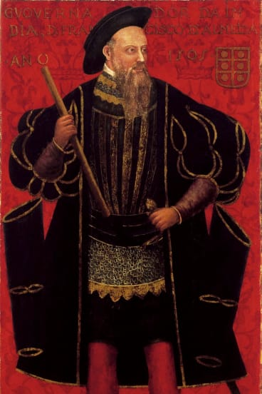 <i>Portrait of D. Francisco de Almeida</i>, 16th century, Goa, oil and tempera on wood, 183 by 98 centimetres,  National Museum of Ancient Art, Lisbon, in <i>Treasure Ships: Art in the Age of Spices</i>, Art Gallery of South Australia.