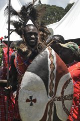 David Rudisha is made a warrior  during a home-coming party in 2010.