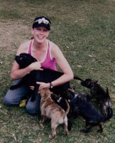 Happier times: Imogen with her dogs in 2009.
