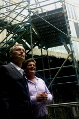 Builder Scott Hutchinson and Bill McGarry of developer Billbergia at Skytower Brisbane on Tuesday.