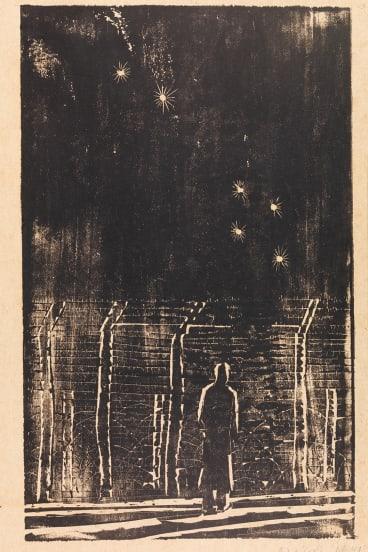 Ludwig Hirschfeld-Mack (1893-1965), Internment Camp: Orange, NSW 'Desolation', 1941, woodcut. The University of Melbourne Art Collection.