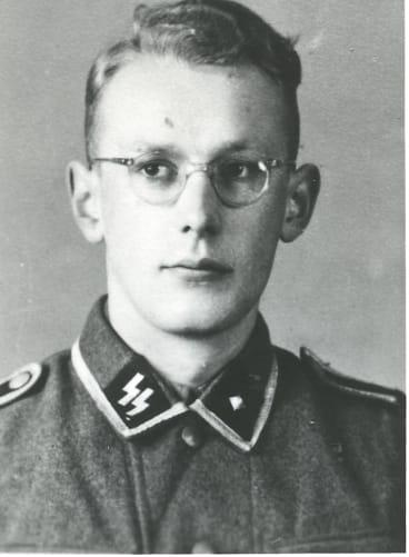 Former Auschwitz-Birkenau guard Oskar Groening in an SS uniform.