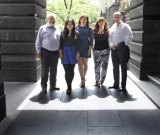 Democratic exercise: From left, Bruce Shaw, Shuwen Ling, Maria Petricevic, Renee Hill and Hani Akaoui spent six Saturdays nutting out their vision for Melbourne.