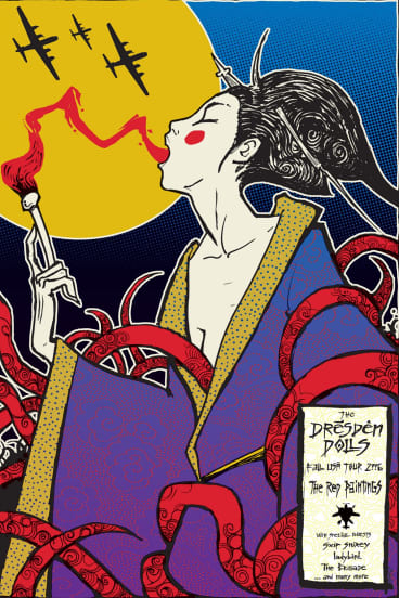 Malleus' poster for Amanda Palmer's Dresden Dolls makes reference to the WWII bombing of the German city.
