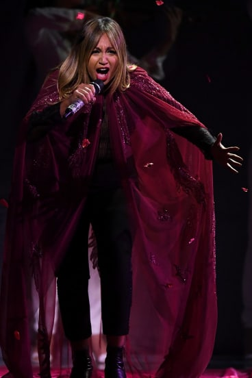 Empty handed: Jessica Mauboy performs during the 31st ARIA Awards at The Star.