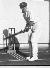 Donald Bradman during the upswing of his bat lift.