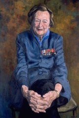 Melissa Beowulf's painting of Nancy Wake hangs in the National Portrait Gallery in Canberra.