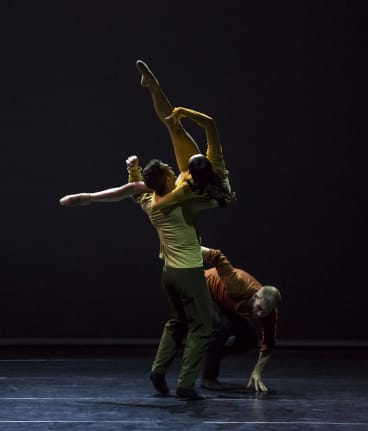 Sydney Dance Company's Frame of Mind, directed by Rafael Bonachela and featuring, clockwise, dancers David Mack, Chloe Leong, and Cass Mortimer Eipper.