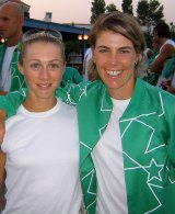 Halliday, left, and Callie were hot favourites for gold in Athens but came fourth.