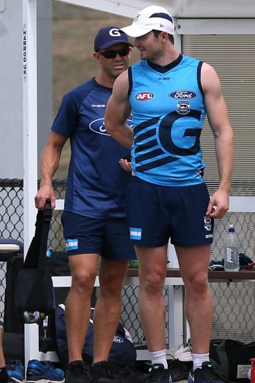 Patrick Dangerfield before leaving training early on Wednesday.