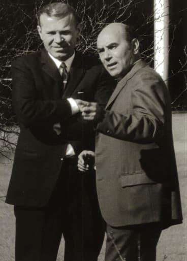 KGB station chiefs in Canberra 1971, Geronty Lazovik (left) and Ivan Stenin.