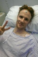 Cameron Brown preparing for brain surgery in London.