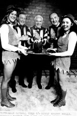 Victorian Premier Dick Hamer, Sir Henry Winneke and chief police commissioner Reg Jackson in their Hawthorn Gear.
