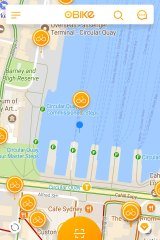 A screenshot of the Obike app showing bikes in Circular Quay, Sydney.