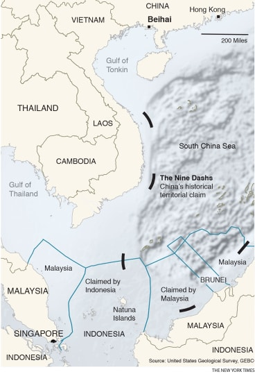 """A map showing part of China's """"nine-dash line"""" in the South China Sea."""