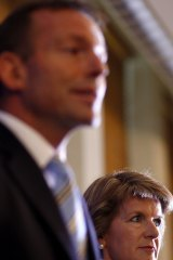 Then-deputy opposition leader Julie Bishop and new Leader of the Opposition Tony Abbott holds a press conference after defeating Malcolm Turnbull by one vote.