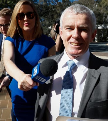 One Nation Senator Malcolm Roberts arrives at the High Court of Australia .