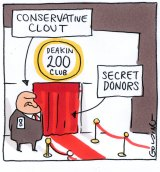 Matt Golding Labelled 'Conservative clout' pointing to a bouncer outside Deakin 200 club and 'secret donors' behind doorway...yawn