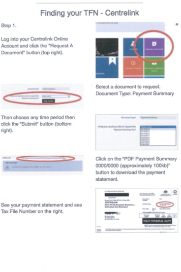 A document provided to Go Careers staff that shows them how to help prospective students find their tax file numbers on their Centrelink account.
