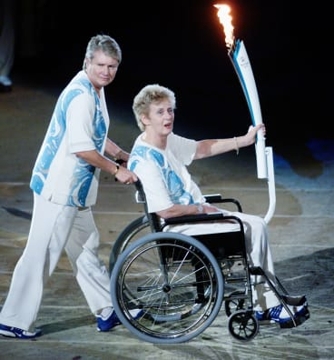 Raelene Boyle and Betty Cuthbert at the Sydney Olympics opening ceremony..