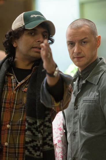 M. Night Shyamalan and James McAvoy on the set of <i>Split</i>.