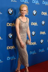In this February 4, 2017 photo, actress Nicole Kidman wears a Marchesa dress at the 69th annual Directors Guild of America Awards in Beverly Hills, California.