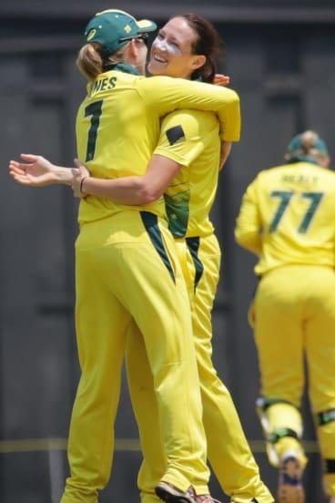 Australia's Megan Schutt, right, has her tactics all planned.