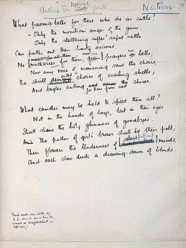<i>Anthem for Doomed Youth</I> by Wilfred Owen is regarded as a classic.