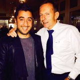 Tony Abbott with Big Brother contestant Jason Roses at a Canberra restaurant on Thursday night.