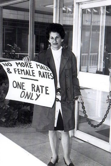 Zelda D'Aprano, chained to the Commonwealth Building in 1969 in protest at the lack of equal pay for women.