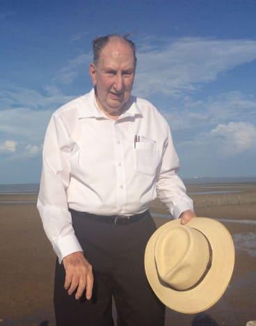 Fred Sharon at Tarakan beach, Borneo, where he came ashore on May 1, 1945.