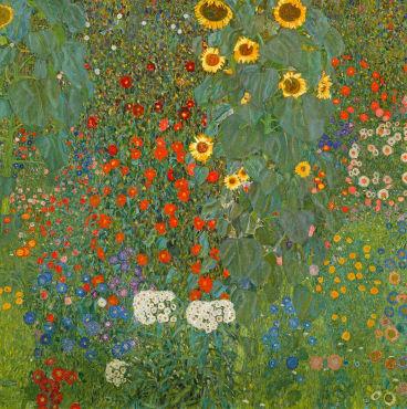 Farm Garden with Sunflowers, 1905-06 (oil on canvas) by Klimt, Gustav (1862-1918); 110x110 cm; Osterreichische Galerie Belvedere, Vienna, Austria. Print available from Thestore.com.au/klimt