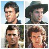 (Clockwise from top left) Gibson in his 1979 breakthrough role as Max Rockatansky in <em>Mad Max</em>; in 1981's <em>Gallipoli</em>; in 1987 buddy comedy <em>Lethal Weapon</em>; as a reporter in 1982's <em>The Year of Living Dangerously</em>.