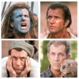 (Clockwise from top left) Gibson in 1995's <em>Braveheart,</em> for which he won two Oscars; in 2000's <em>The Patriot</em>; in 2011's <em>The Beaver</em>, directed by his friend Jodie Foster; in <em>What Women Want</em> from 2000.