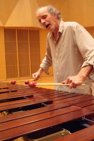 Veteran percussionist Phil Treloar at the marimba.