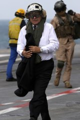 French Defence Minister Jean-Yves Le Drian onboard the aircraft carrier Charles de Gaulle.