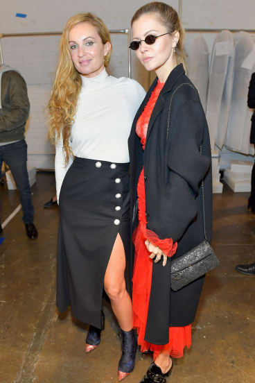 Designer Alice McCall (left) and Bella Hadid's stylist Elizabeth Sulcer at the Alice McCall fashion show.