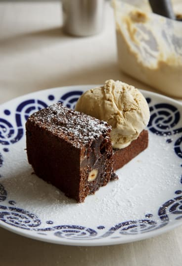 Naughty but nice: Jaffa brownie with carajillo ice-cream.