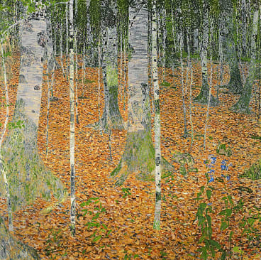 The Birch Wood, 1903 (oil on canvas) by Klimt, Gustav (1862-1918); 110x110 cm; Private Collection; (add.info.: this work was in the collection of the Osterreichische Galerie Belvedere in Vienna until 2006 when it was returned to the heirs of its pre-WW2 owner and sold at auction). Print available from Thestore.com.au/klimt