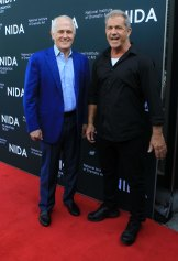 Mel Gibson attends the opening of the new NIDA graduate school in Kensington with prime minister Malcom Turnbull.