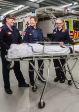 Georgi Hall (left), Andria White and Mel Buckingham are some of Victoria's longest serving paramedics.