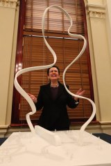 """""""Wow"""": Lord Mayor Clover Moore admires the artwork."""