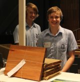 Students from Frankston High School's 2015 cohort with their recycled hardwood chopping boards.