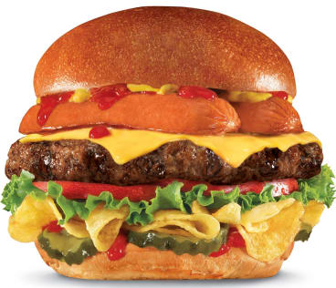 Artery-clogging: The Most American Thickburger is a burger and hot dog in one.