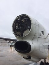 The right-hand engine, minus propeller, after the plane landed.