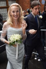 Jerry Hall arrives with James Jagger for her wedding.