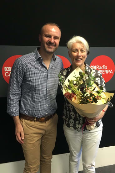 Andrew Barr after presenting outgoing ABC radio host Genevieve Jacobs with flowers last year: The average age of ABC television news viewers is the mid-60s, he says.