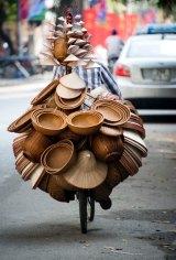 A hat vendor in Hanoi, Vietnam.